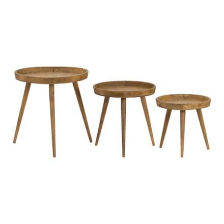 Loft Collection Set Of 3 Round Wooden Table